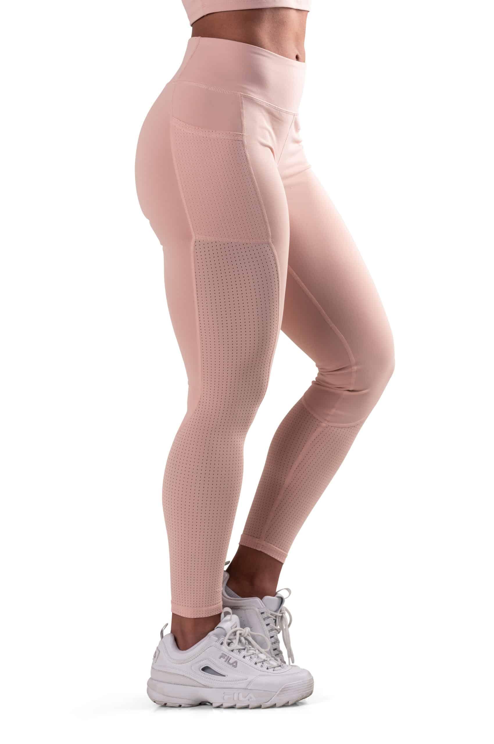 beiga tights med fickor, mesh och hög midja